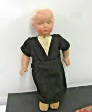 ANTIQUE  DUTCH  BOY DOLL WALKER WOOD SHOES ORIGINAL CLOTHING BISKOLOID HEAD HAND