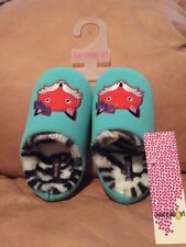 Kensie Brand Girl's Aqua Fox Zebra Print House Slipper Shoes Slip In Size 11/12