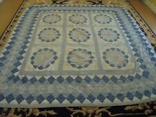 Nice Blue Printed Cloth Granny Square w/Blooming Flower Quilt