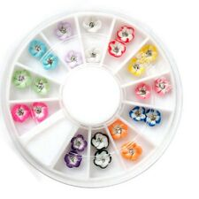 Nail Art 24pcs 3D Ceramic Flower Glitter Rhinestone Tips Gems Color Decoration