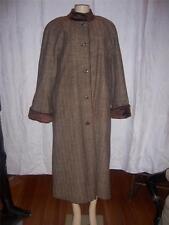 Harve Bernard Brown Tweed Womens Full Length 100% Wool Coat  Size 16 NEW