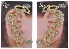 Gold Earrings Full Ear Clip On Jewelry Costume Zirconia Set Double 2 Pack Pair