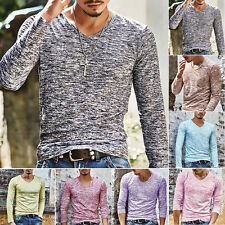 UK Mens Slim Fit V Neck Long Sleeve Muscle Tee T-shirt Casual Tops Blouse New