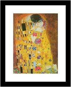 Gustav Klimt Der Kuss Poster Kunstdruck Bild mit Alu Rahmen in schwarz 30x24cm