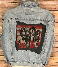 AC/DC Rocker Denim Vest sz XL 70s 80s Style Canyon River Blues Sleeveless Jacket