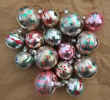 15 boules de noel rose argent fleurs peintes vintage décorations de sapin
