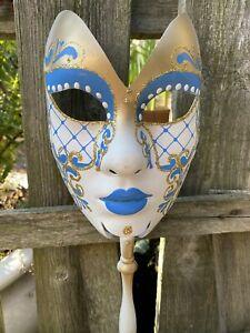 Venice Venezia Handpainted Carnaval Mask Masquerade White Blue Gold glitter New