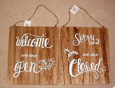 WELCOME WE ARE OPEN  SORRY WE ARE CLOSED REVERSIBLE NATURAL WOOD CAFE SHOP SIGN