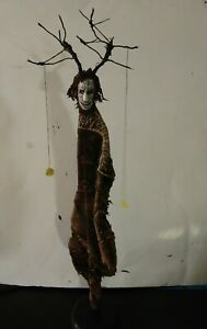 sculpture art DREAM CATCHER carved wood, creepy doll, witch, tree spirit