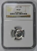 1959 10c SILVER ROOSEVELT DIME, HIGH-GRADE PROOF COIN *NGC PF 67* LOT#W812