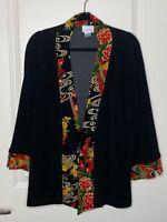 Soft Surroundings 1X Black Floral Cardigan Sweater Women's Long Sleeve