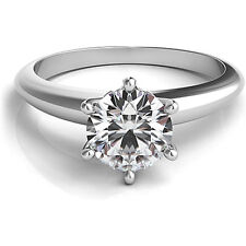 1 Carat Forever One DEF Moissanite Engagement Ring White Gold Classic Solitaire
