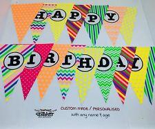HAPPY BIRTHDAY PERSONALISED PARTY BANNER BUNTING UV BLACK LIGHT GLOW FLURO 80's