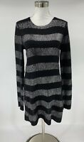 Line Womens 100% Cashmere Sweater Dress Size L Black Striped Long Sleeve S7