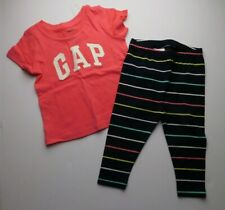 NWT Gap Baby Toddler Girl 2 Pc Set Gap Logo T-Shirt/Striped Leggings 6-12M New