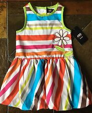 Girls Dress Size 6 NWT New Striped Flower Sundress Orange Red Blue White