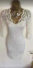 NWT Lipsy Fitted Stretch Lace Winter White Wedding Day Party Dress UK 8