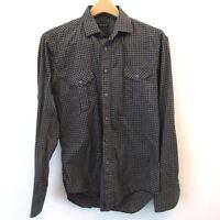 Zara Man Mens Shirt Slim Fit Medium Black Gray Checks Long Sleeve Button Down