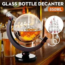 Elegant Whiskey Glass Decanter Etched Globe Design Wine Liquor Impressive Bar US