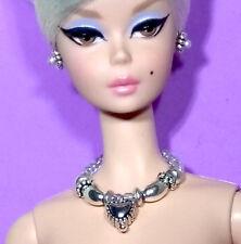 Barbie Dreamz SILVER Beads & Heart Elegant NECKLACE & EARRINGS Doll Jewelry