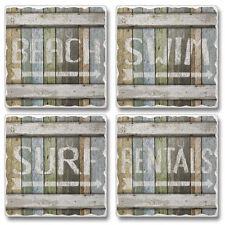 Assorted 4 Piece Tumbled Coaster Set - BEACH, SURF, RENTALS, SWIM Made in USA