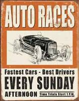 Auto Races Every Sunday Vintage Retro Tin Metal Sign 13 x 16in