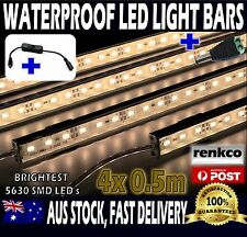4X12V Waterproof Warm White 5630 Led Strip Lights Bars For Car Camping + On/Off