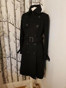 Karen Millen Signature Wool And Cashmere Black Trench Coat Uk 14 Us 10 Eu 42