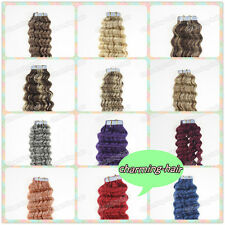 Seamless Tape in Skin Weft Remy Human Hair Extensions Water Curly 20/40Pcs18Inch