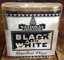 National Cigar Stand Black & White Crushed Plug Tobacco Store Adv Counter Sign