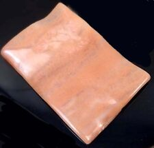 60x40mm Natural Peach Agate Rectangle Wavy Pendant Bead