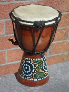 *  DJEMBE SMALL DRUM HANDMADE AND FAIRTRADE FROM INDIA DOT PAINTED  *