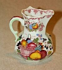 """Masons Red Multicolored Fruit Basket Made In England Large Pitcher 6 1/8"""" Tall"""