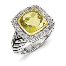 Sterling Silver w/14k Lemon Quartz & Diamond Ring Size 6 #8241