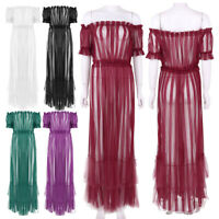Women Ruffle Off Shoulder Club Mesh Sheer Long Maxi Dress Beach Evening Party