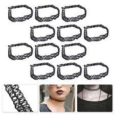 100PCS Black Elastic Tattoo Choker Vintage 90s Stretch Gothic Retro Necklace