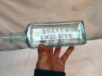 Vintage Embossed  Blue Glass Apothecary Scotts Emulsion Cod Liver Oil Bottle