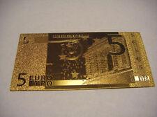 BILLETE 5 EUROS REPLICA ORO GOLD 24K