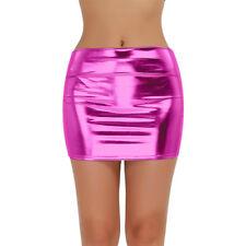 Womens Sexy High-rise Short Mini Skirts Shiny Metallic Bodycon Evening Club Wear