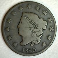 1829 Coronet Large Cent US Copper Type Coin Good Newcomb Variety N5 Genuine 1c
