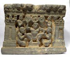 FRISE DU GANDHARA EN SCHISTE - TRIRATNA 3 JOYAUX - 200 AD GANDHARAN SCHIST PANEL