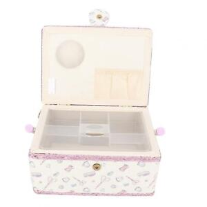 Portable Double Layer Fabric Sewing Basket Thread Needle Storage Box Organizer