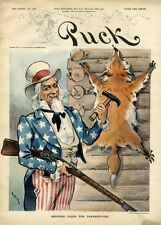 UNCLE SAM NAILS A BRYANISM FOX PELT SKIN TO A LOG CABIN HOLDING RIFLE PROSPERITY