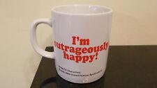 "Rare Vintage Peanuts Snoopy United Feature 1965 ""I'm outrageously happy!"" Mug"