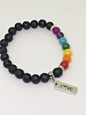 "Lava Stone Chakra Bead Bracelet with ""Love"" Ingot Charm with Gift Bag"