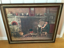 Vintage oil painting PRINT W.H. LIPPINCOTT SOLID COMFORT FRAMED HEARTH