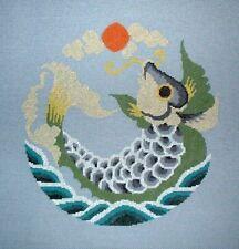 MZC Oriental Koi Fish 24ct Congress Cloth HP Hand Painted Needlepoint Canvas