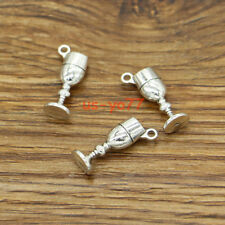 20 Wine Glass Cup Charms Drink Charm Chalice or Goblet Charm Antique Silver 3100