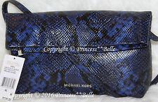 MICHAEL KORS Daria Embossed Leather Foldover Clutch Handbag Purse Electric Blue