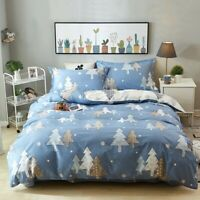 Cotton Christmas Tree Doona Duvet Quilt Cover Set Double Queen King All Size Bed